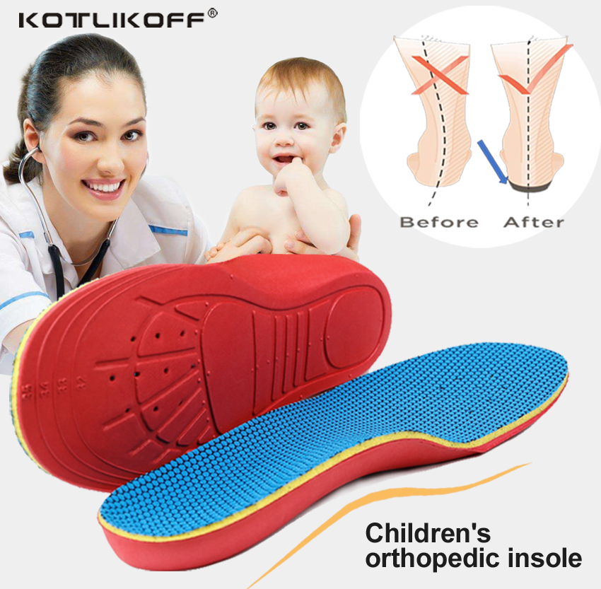 KOTLIKOFF Kids Children Orthopedic Insoles Shoes Flat Foot Arch Support insoles Orthotic Pads Correction Health shoes pad care princepard genuine leather boys girls orthopedic footwears include orthotic arch support flat foot kids shoes baby shoes