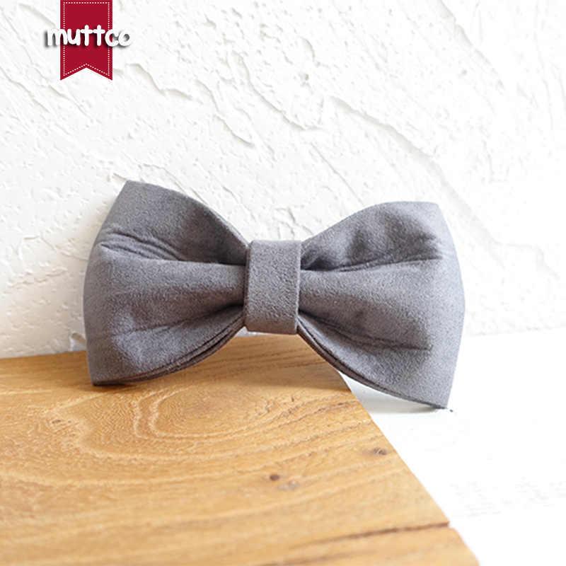 MUTTCO التجزئة الذاتي تصميم ربطة القوس tie الكلب طوق غطاء رمادي أصفر اليدوية جميلة ربطة العنق الياقات والمقاود مجموعة UDC026