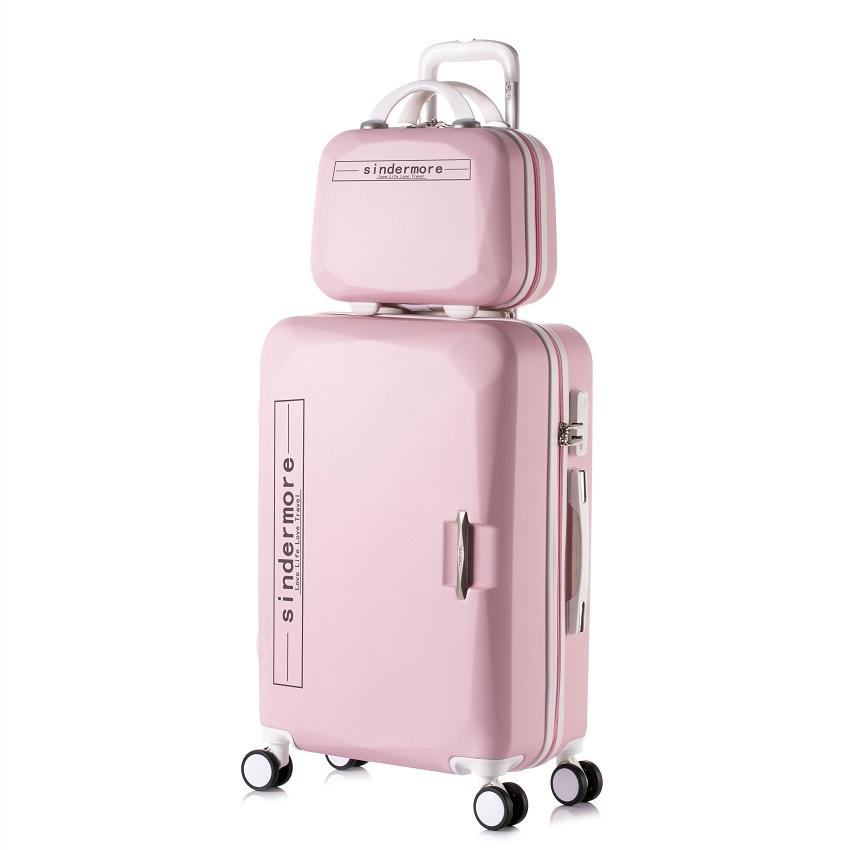 """Prix pour 14 """"Cosmétique sac 2 pcs/ensembles enfants voyage valise avec roues chariot case roulement rose bagages ensemble de filles enfants valises vente"""