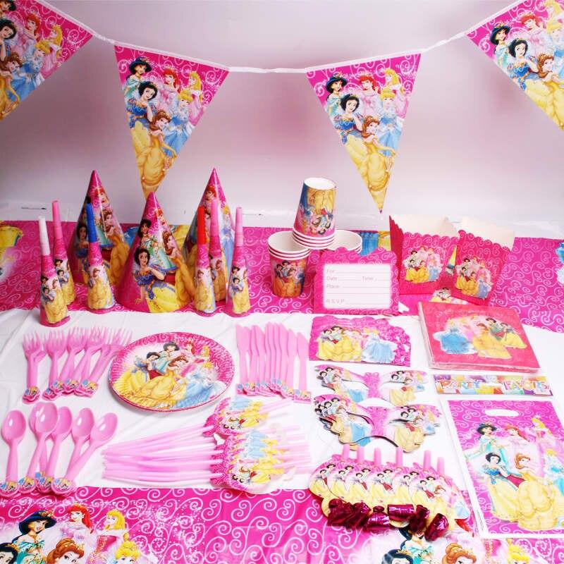 Вечерние принадлежности 198/258 шт шесть принцесс тема мультфильм одноразовые посуда бумажные стаканчики и тарелки салфетки день рождения фл