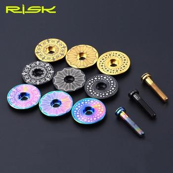 Risk 1 set Lightweight Titanium Alloy Bicycle Headset Cap + M6*30mm Bike Headset Stem Bolt 3 Colors Headset Screw Bicycle Parts