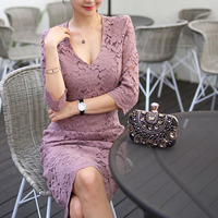 Women Sexy Lace Dress Evening Party Midi Dresses Female Vintage Good V Neck Bridesmaid Mother Of