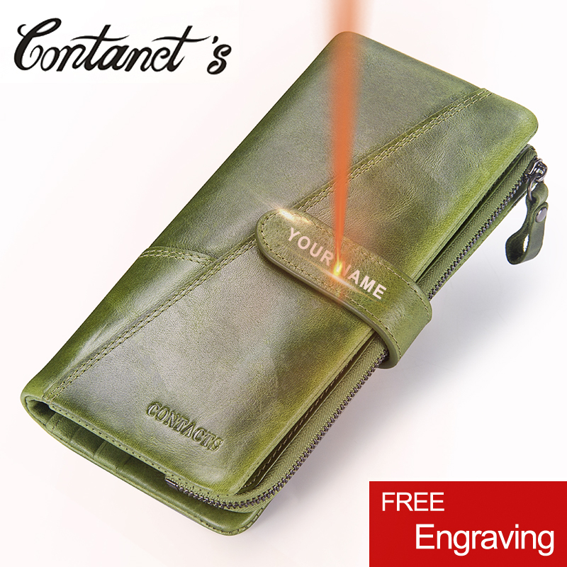 Contact's Fashion Woman's Wallet Genuine Leather Women Long Clutch Wallets Big Capacity Coin Purse Card Holder With Phone Bags top cow genuine leather short wallet women wallets and woman purses fashion coin clutch bag purse card holder