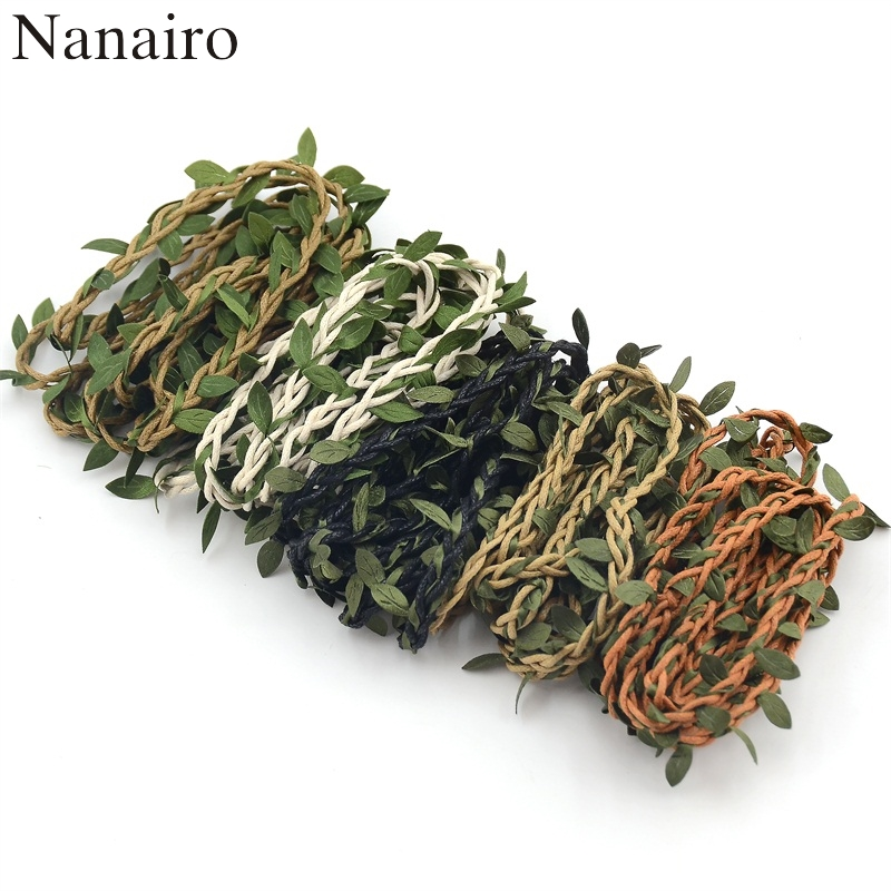 1M Artificial Green Flower Vine Leaves Rattan For Home Wedding Party Decoration Foliage DIY Garland Headband Hair Accessories