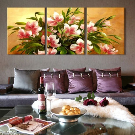 oil painting ideas for living room 3 wall canvas painting flower picture 24250