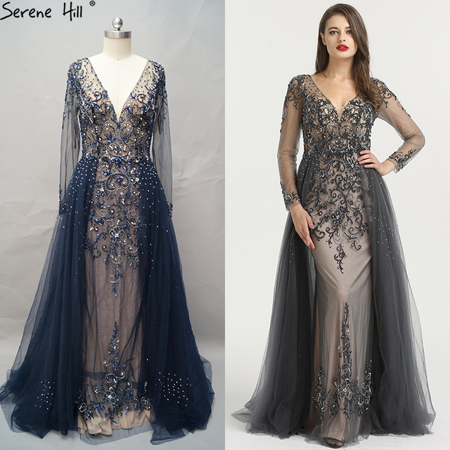 Long Sleeve Sexy V-Neck New Evening Dress 2019 A-Line Fashion Diamond Beading With Train Evening Dress  LA6571