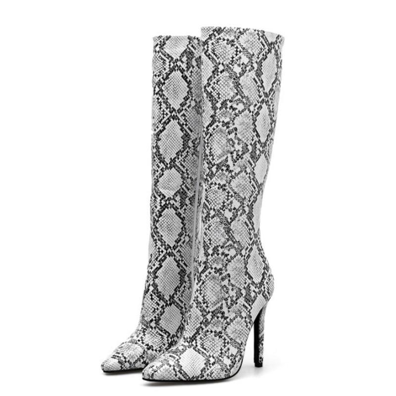 Stil Winter Ferse Schuhe Sexy Long Frauen Stiefel Apricot High Short Feamle Knie Heels Long black Mode Schlange Die Stiletto Spitz apricot d6Xnzxz