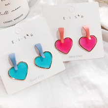 2019 Earrings Women New Summer Color Acrylic Heart Stud Earring Transparent Candy For Jewelry