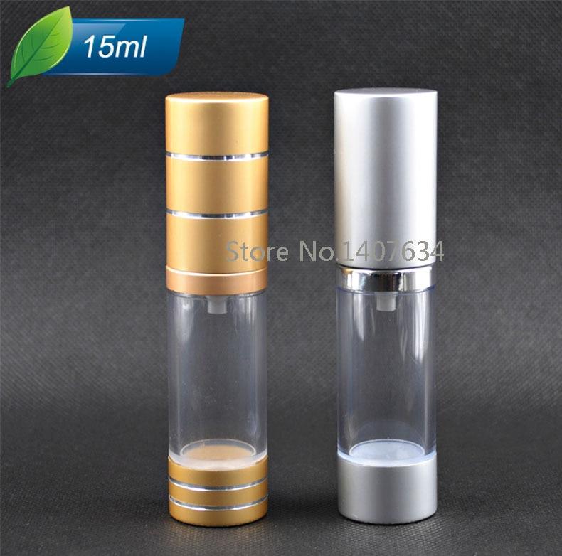 Hot sale 20pcs 15ml lotion grade anodized aluminum vacuum bottles duckbill pressing bottle perfume bottle refillable