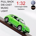 1:32 Volkswagen Bettle Diecast Model Car Toy, Car with Pull Back/ Music/ Flashing/ Openable Doors As Gift for Children