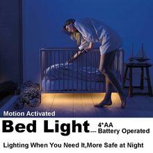 4AA Батарейках СВЕТОДИОДНЫЕ Ленты Lights Motion Activated LED Кровать фары с Таймером Датчик для Chrildren Ребенка Под Кроватью Шкаф лампы