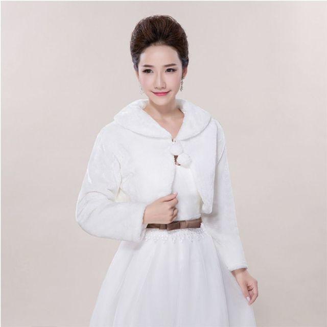 Lady Womens Faux Fur Manga Comprida Lapela Collar Pompom Bola Lace Up Branco Shrug Shawl Enrole Pashmina Capa de Noiva festa de Jack