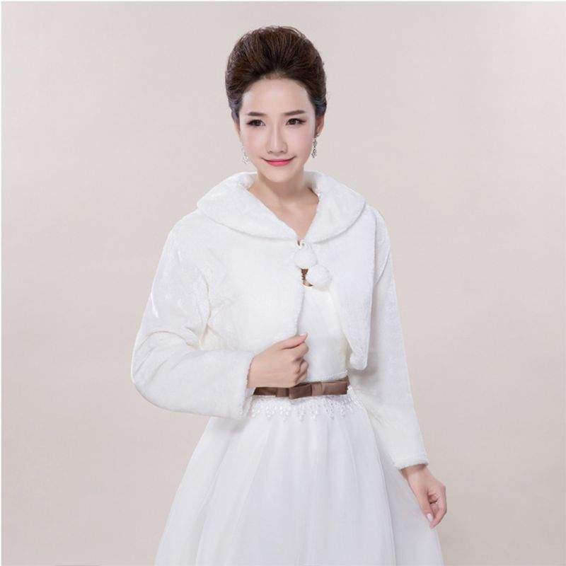 Womens Lady Faux Fur Long Sleeve Shawl Wrap Lapel Collar Pompom Ball Lace Up White Shrug Cape Pashmina Bridal Wedding Party Jack
