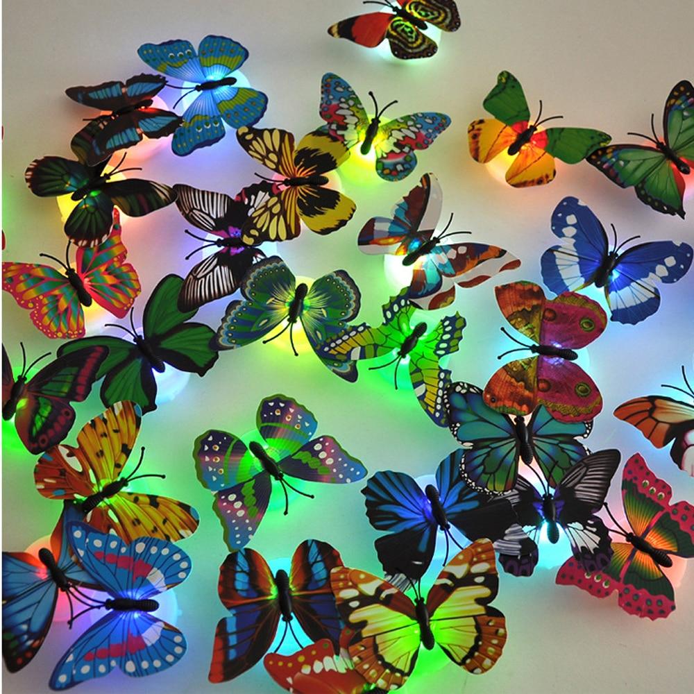 Color light Butterfly Wall Stickers easy installation night light Home living kid room Fridage bedroom decor in LED Night Lights from Lights Lighting
