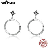 WOSTU Real 925 Sterling Silver Vintage Allure Lucky Circle Drop Earrings For Women Authentic Silver Jewelry