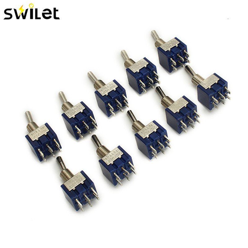 10pcs MTS-203 125V 6A 6 Pin 6mm ON/OFF/ON DPDT 3 Position Toggle Rocker Switch Mini Switch metsan mts 150 purple