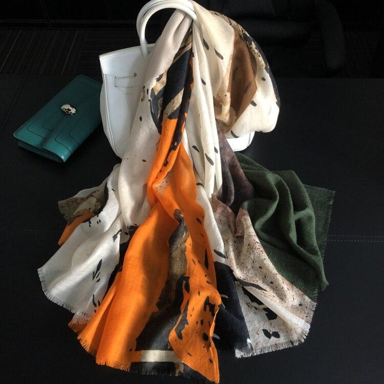 100 Pure Cashmere Scarf Women Graffiti Orange Long Scarves Hijabs Spring Winter Shawls Wraps Soft Warm