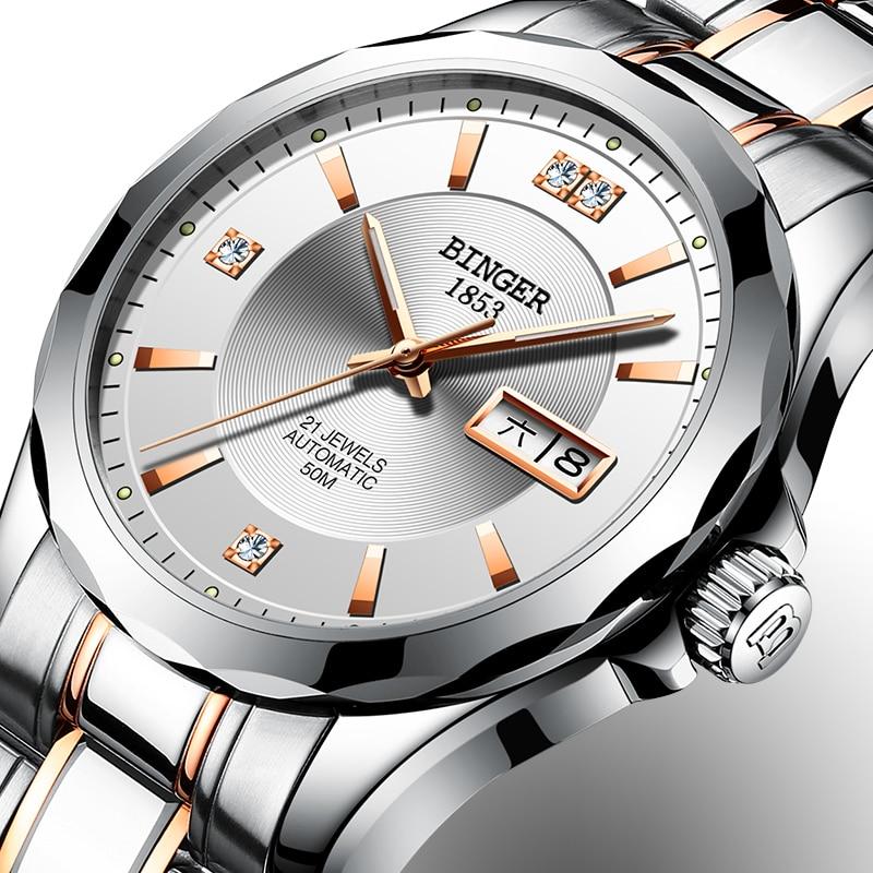 2017 New Binger Men Watches Luxury Brand Japan Miyota Automatic Mechanical Movement Wrist Sapphire Waterproof Watch Men B-8051-3