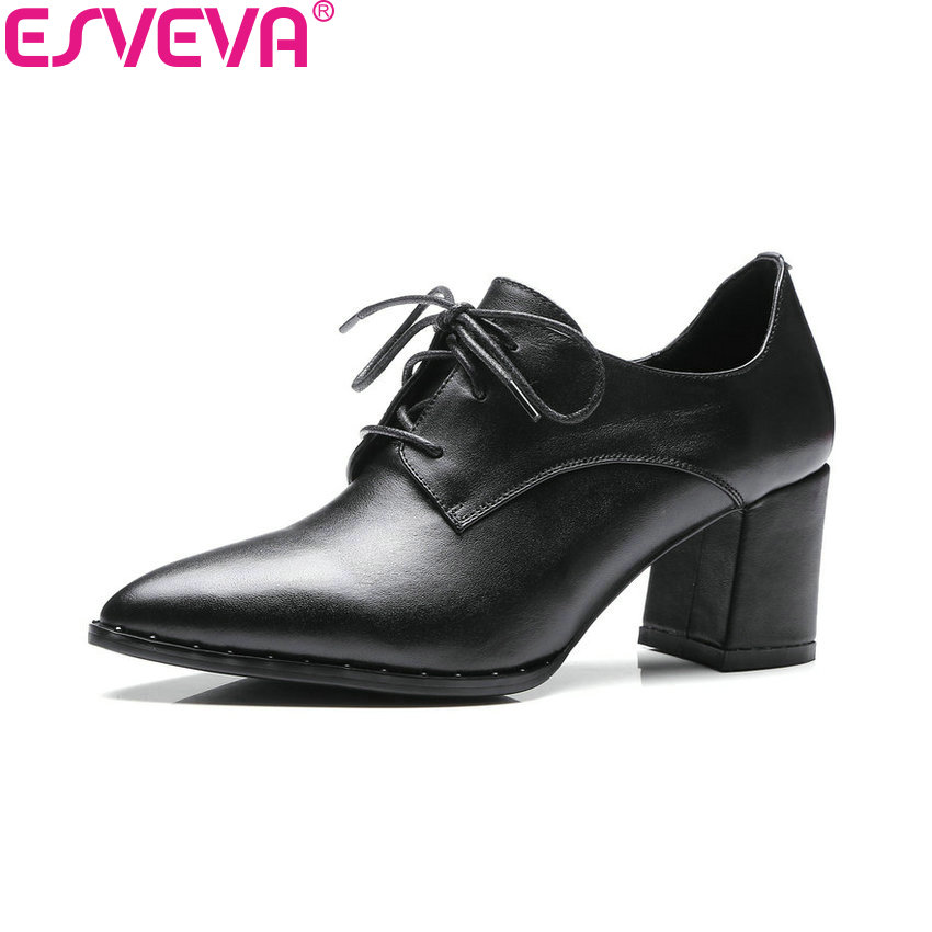 ESVEVA 2018 Women Pumps Casual Square High Heels Pointed Toe Lace Up High Heels Cow Leather PU Fashion Ladies Shoes Size 34-39 esveva 2017 new pointed toe pu women pumps lace up british style fashion shoes women spring square high heel pumps size 34 39