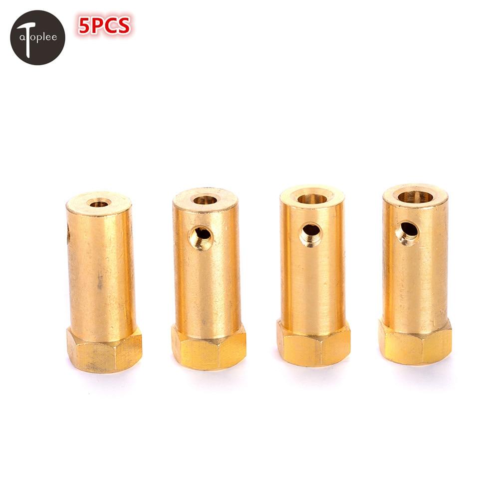 5pcs 3/4/5/6mm Coupler Brass Extended Flexible Shaft Hex Coupling Coupler Motor Connector Shaft Coupler Parts 3mm shaft screw clamp motor wheel brass coupler coupling