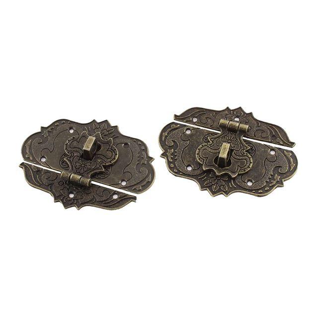 2 Pcs 77mmx57mm Suitcase Jewelry Box Hasp Latch Antique Bronzein