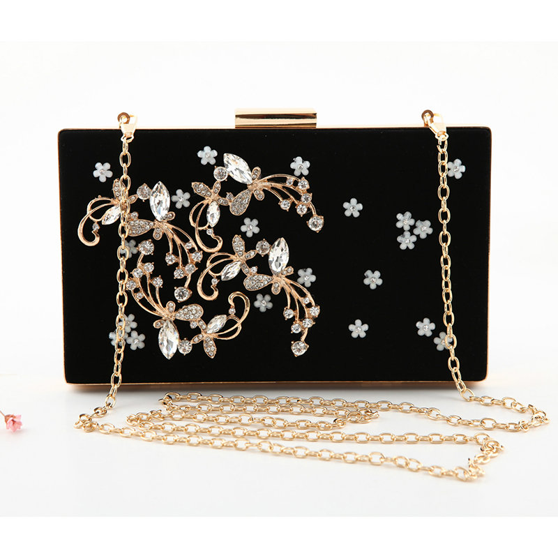 Luxury Women Evening Bag Fashion Diamond Women Evening Box Wedding Clutch High Quality Flower Lady Party Banquet Bag with Chain hot evening bag wedding women austrian diamond aluminium female shinestone banquet wedding party lady beaded prom clutch bags