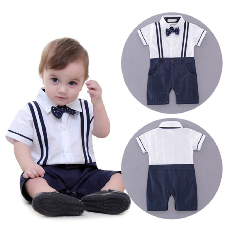 Boys Baby clothing Gentleman Rompers Dots Bow Straps Summer One Piece Short Sleeve newborn Jumpsuits Overalls Toddler Clothes baby boys rompers infant jumpsuits mickey baby clothes summer short sleeve cotton kids overalls newborn baby girls clothing
