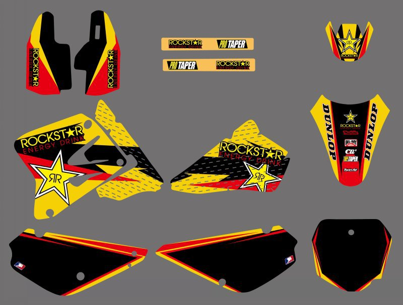 H2CNC Graphics Background Decal Sticker Kits For Suzuki RM85 RM 85 2002 2003 2004 2005 2006