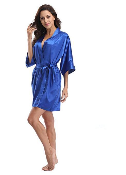 Women's Satin Pajamas Bathrobe Nightgown Wedding Kimono Bride Robe Sleepwear Bridesmaid Robes - sleepwear