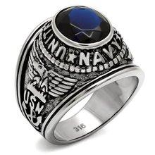 * 2016 macho Militar ejército hombres anillo de acero Inoxidable anillo de dedo de la Marina de Los Estados Unidos Contra el efecto de la piedra de cristal Sintético Libre gratis