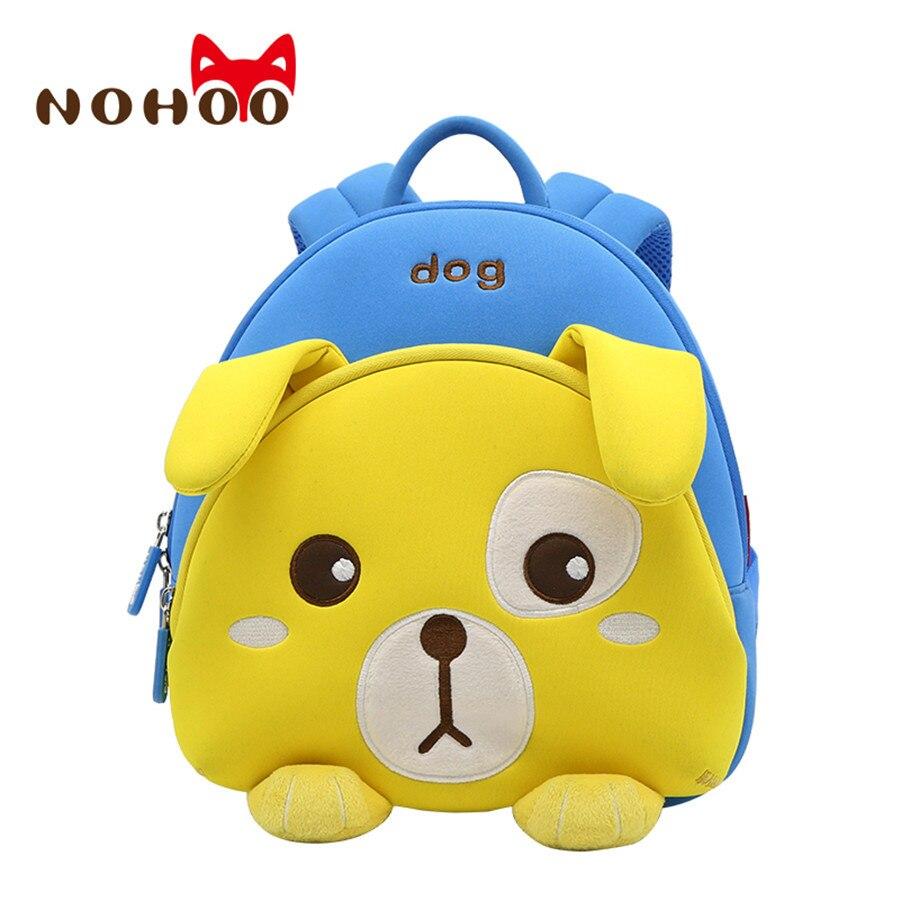 Nohoo Waterproof Kids School Bag 3D Cute Dog Animal Printed School Backpack for Boys Toddler Baby Kindergarten Child Backpacks nohoo tiger type neoprene backpacks