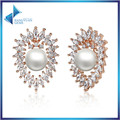 Hot Sale AAA CZ Stone Gold Plated Pearl Stud Earring for Women Wedding Fashion Luxury Fine Jewelry