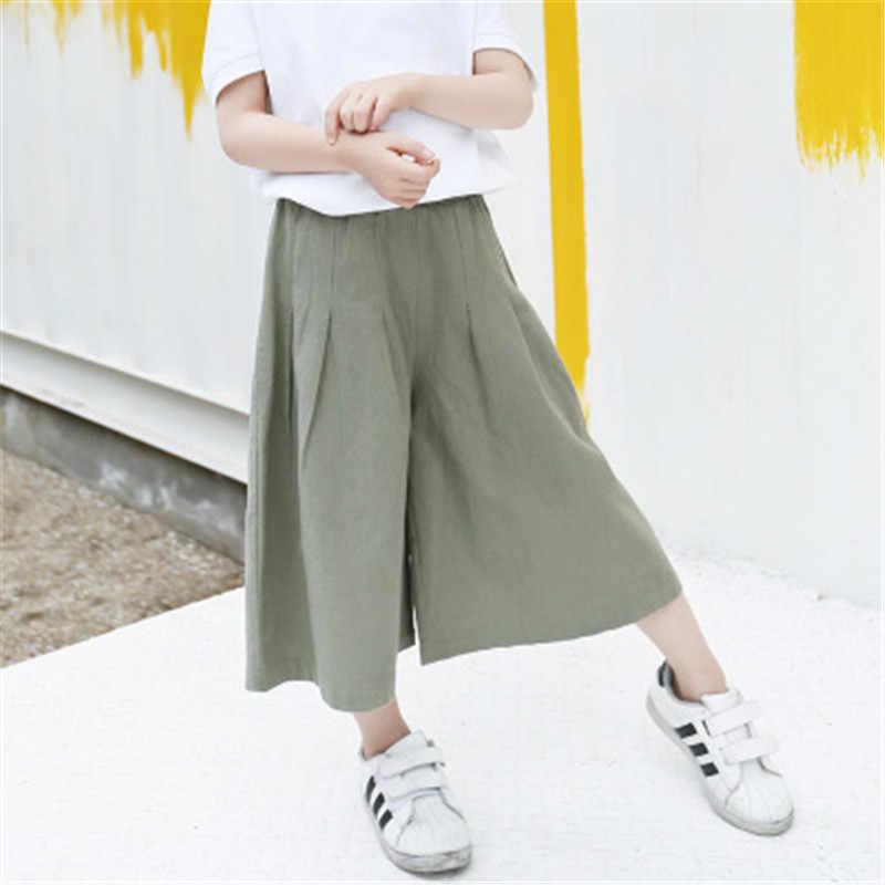 Kız Pantolon Çocuk Leggints Pantolon Çocuk Yaz Kız Casual Şifon Pilili Pantolon Vahşi Geniş Bacak Pantolon Gevşek Bebek Pantolon Ince AA2839