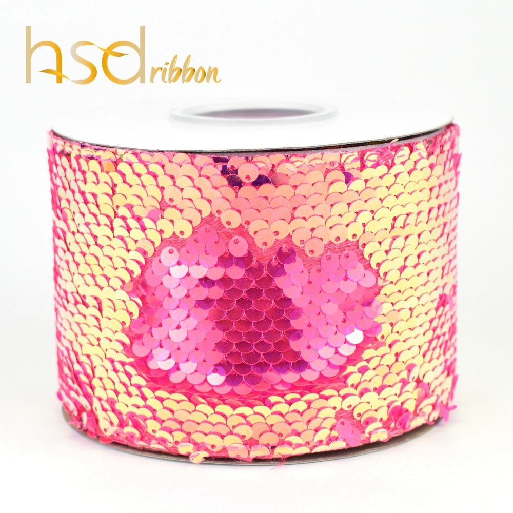 Image 5 - HSDRibbon 75mm double color Sequin Fabric Reversible Glitter  Sequin Ribbon 25Yards per Roll for diy bowsRibbons