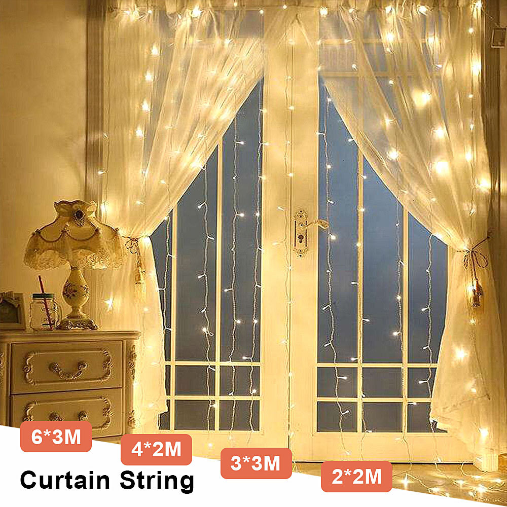 3Mx3M Christmas Garland 300 Led Curtain Icicle String Light Fairy Light Outdoor For Home Lighting Decoration Wedding Chain Lamps