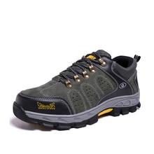 En cuir Hommes Bottes Acier Embout Anti-Écrasement Anti-Crevaison Respirant Durable En Plein Air Sécurité Travail Chaussures Automne Hiver chaussures