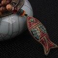 Moda evadir peces collar étnico, placa de color turquesa de la vendimia joyería de Nepal, hecha a mano sanwoods bodhi collar de la vendimia