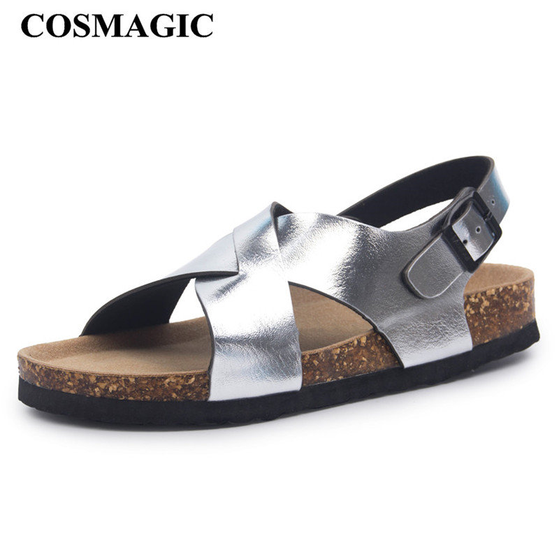 COSMAGIC Cork-Sandals Shoe Buckle-Strap Flat Beach Summer Women Casual