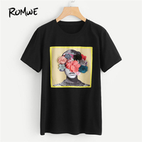 ROMWE Flower Applique Graphic Tee Shirt 2018 New Arrival Summer Round Neck Woman Top Black Short