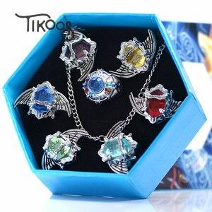 7pcs/set Fashion jewelry Ring Anime Vongola Rings Katekyo Hitman Reborn Sawada Tsunayoshi Cosplay Ring pendant For Men women(China)