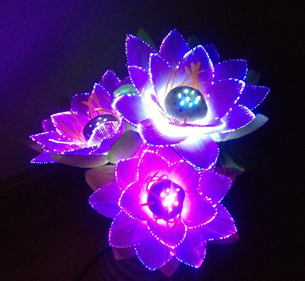 Buy led flower lights lotus light buddha for Light up flower lamp