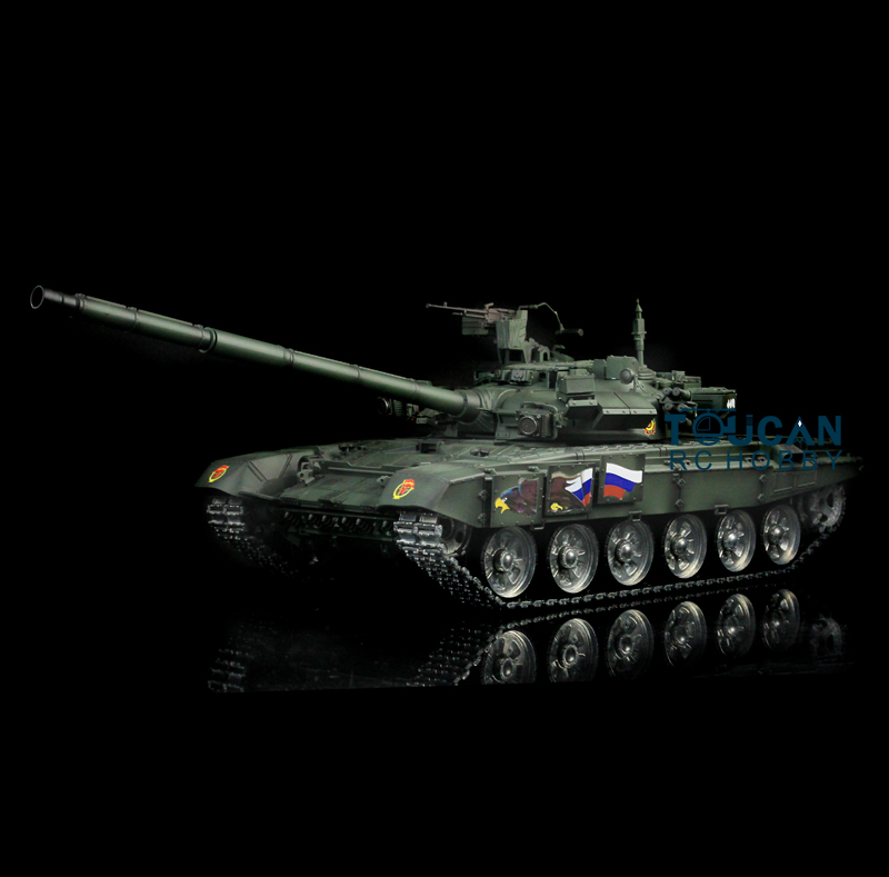 HengLong 1/16 Scale Darkish Green Russian T90 RTR RC Tank Model Metal Tracks Wheels 360 Degree Rotation Turret 3938 knl hobby heng long russian t 90 1 16 scale 2 4ghz r c main battle tank 3938 1 ultimate metal version metal gear tracks somke