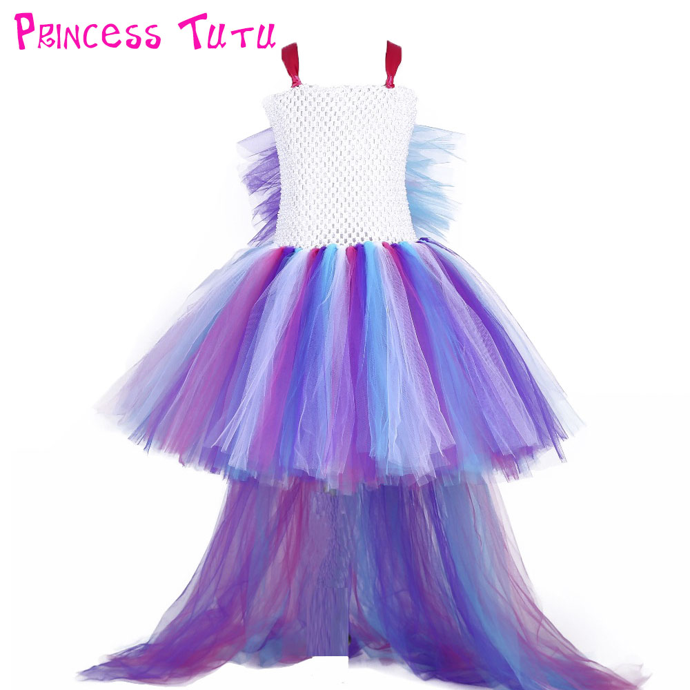 Princess Girl Unicorn Bustle Tutu Dress Girls Rainbow Birthday Party Photo Dresses Kids Perform Costume For Special Holidays unicorn bustle girls dress rainbow tutu dress baby dress up costume kids party dresses children cosplay outfits little horse