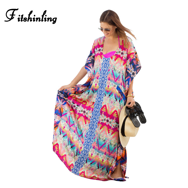 Large size athnic boho beach maxi dress 2017 print vintage summer long dresses women clothes oversize loose straight pareos sale