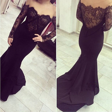 Elegant Arabic Dubai Long Sleeve Lace Sheer Formal Evening Dresses 2017 Off-Shoulder Sexy Mermaid Party Gowns For Women Black