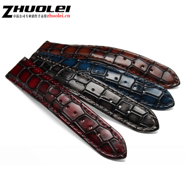 Fashion Genuine leather watchband straps black brown dark blue red 18mm 20mm 22m