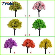 100pcs height 4cm-8cm Mixed Color Trees Plastic Model Tree Scenery Landscape Scale for design