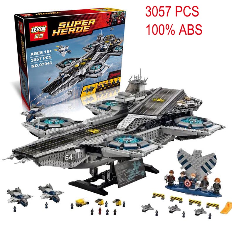 LEPIN 07043 Super Heroes series The SHIELD Helicarrier Model Building Blocks classic Compatible original legoed toy