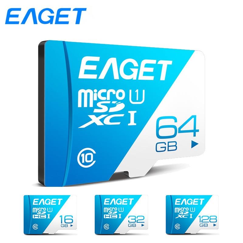 EAGET T1 carte Micro SD 64 GB 32 GB 16 GB carte mémoire 128 GB carte TF Class10 UHS-I 80 MB/s carte mémoire Flash microsd pour Smartphone