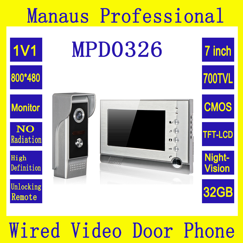 7 Inch Screen Video Intercom Support 32G Memory Card, New Outdoor Video Door Bell Waterproof Camera Infrared Night Vision D0326